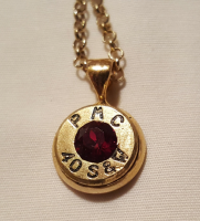 40 Caliber Brass Bullet Pendant Necklace