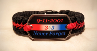 9-11 Never Forget Thin Red Line Paracord Survival Bracelet