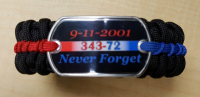 9-11 Never Forget Police - Firefighter Thin Line Paracord Bracelet