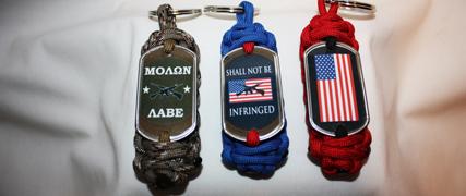 Patriotic - 2nd Amendment Paracord Dog Tag Key Fob