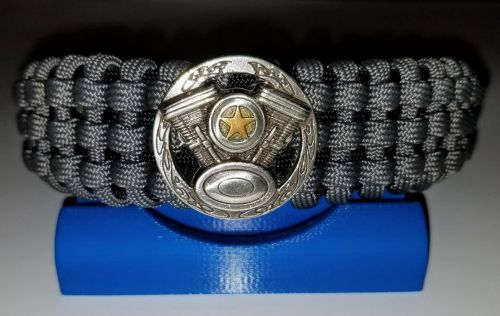 VTwin Engine Medallion - Tracks Weave Paracord Survival Bracelet
