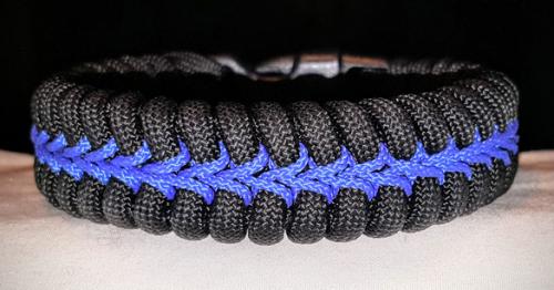 Thin Blue Line Stitched Paracord Survival Bracelet