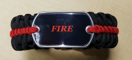 Deluxe Fire Thin Red Line Paracord Bracelet