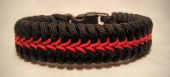 Thin Red Line Stitched Paracord Survival Bracelet