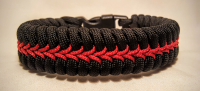 Stitched Thin Red Line Paracord Bracelet
