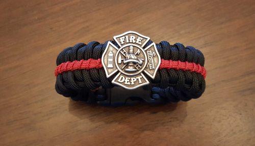 Thin Red Line Medallion Edition Paracord Survival Bracelet
